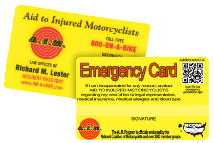 AIM Benefit Card for Motorcycle Riders